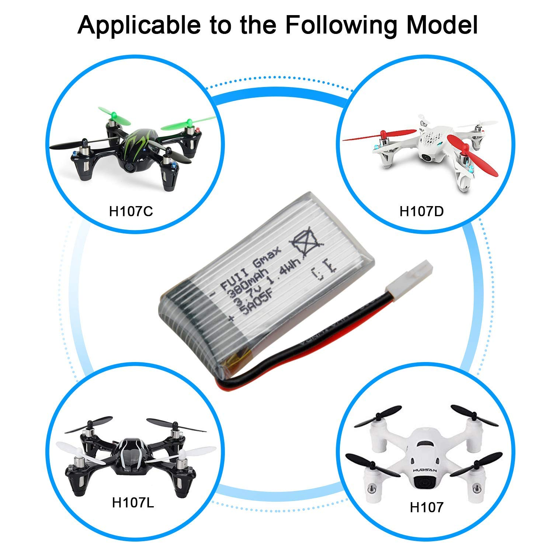Yacool /® Hubsan X4 H107 H107l H107c H107d Rc quadcopter Ricambi 5pcs 3.7v 380mAh Li-po batteria e 1-5 caricatore dellequilibrio