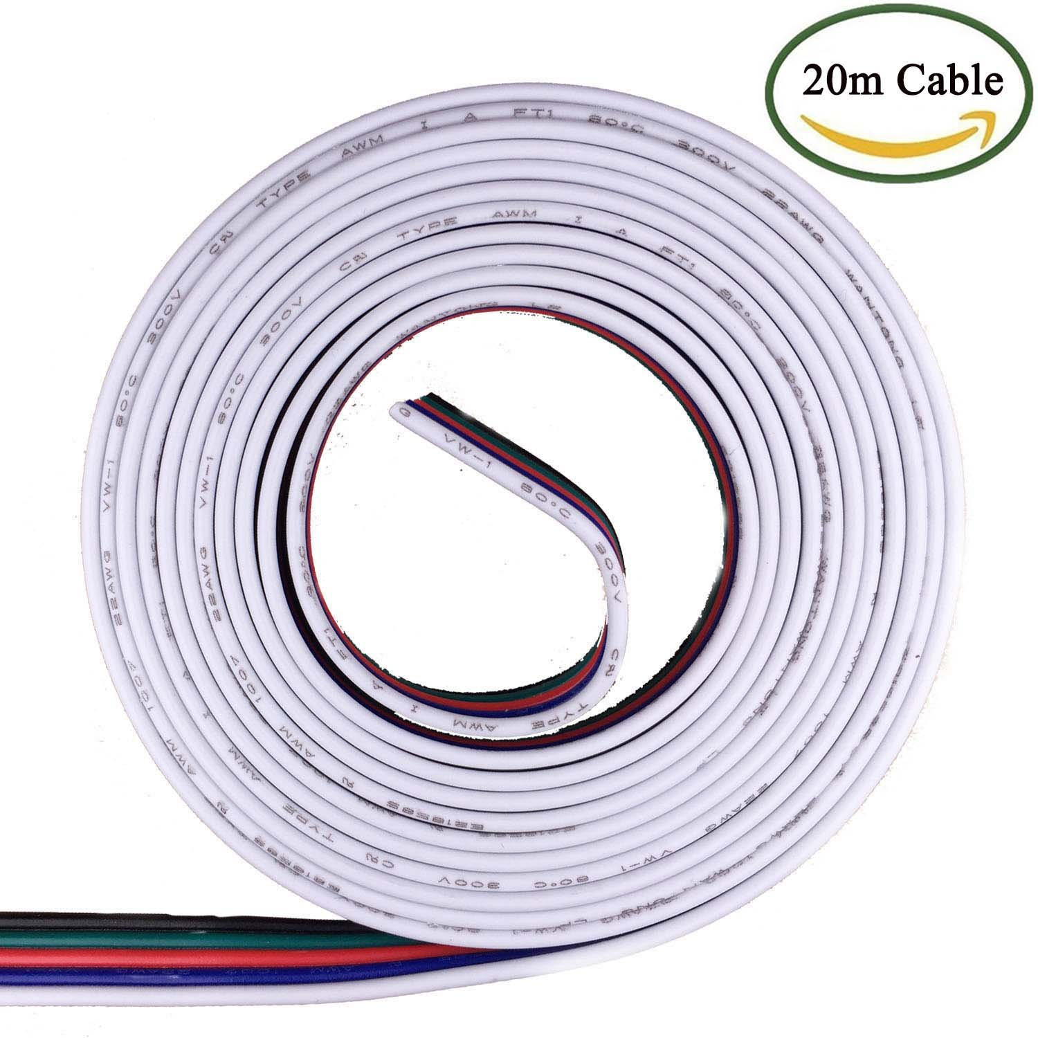 Kabenjee RGBW 5pin LED Strips Light 20m RGBW LED Strip Extension Cable Connector,5 Way Flat Ribbon Cable for 5pin LED Tape Light,Connector Wire for Osram LED Strip Ribbon or 3D Printer(Easy to split)
