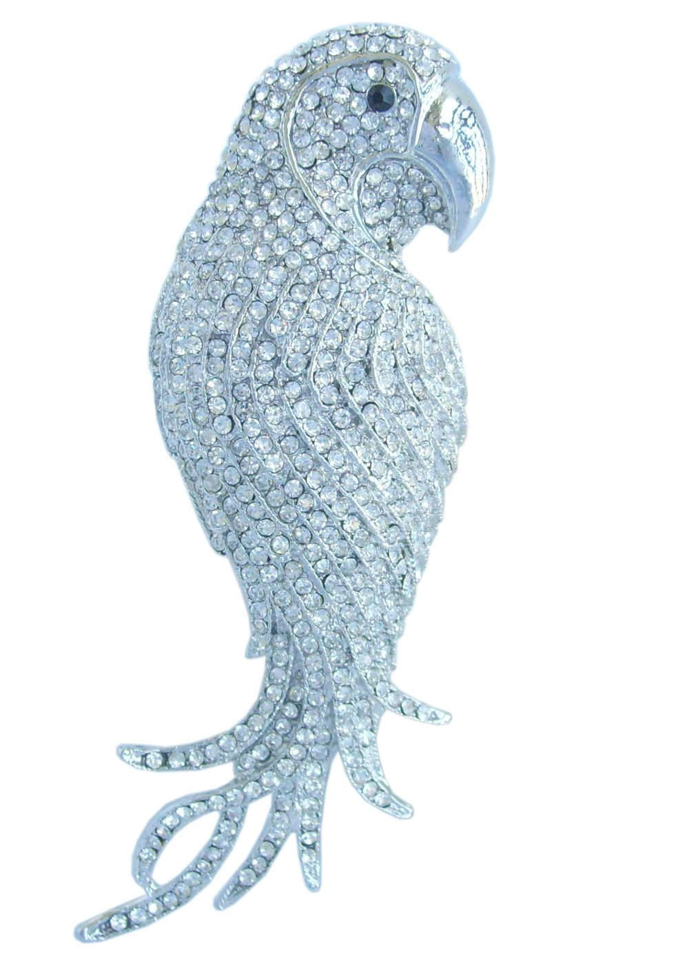 Sindary 4.53'' Silver-tone Clear Rhinestone Crystal Parrot Brooch Pin Pendant