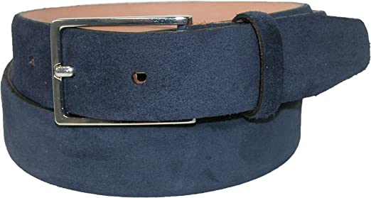"Dark Blue Suede Belt Men/'s belts Genuine Italian Leather Navy Casual Fashion 36/"""