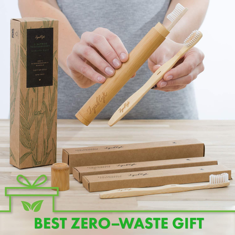 Amazon.com: Juego de cepillos de dientes de bambú con funda ...
