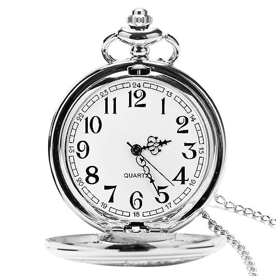 Reloj de bolsillo para hombre con cadena, colgante de cuarzo relojes de bolsillo para papá