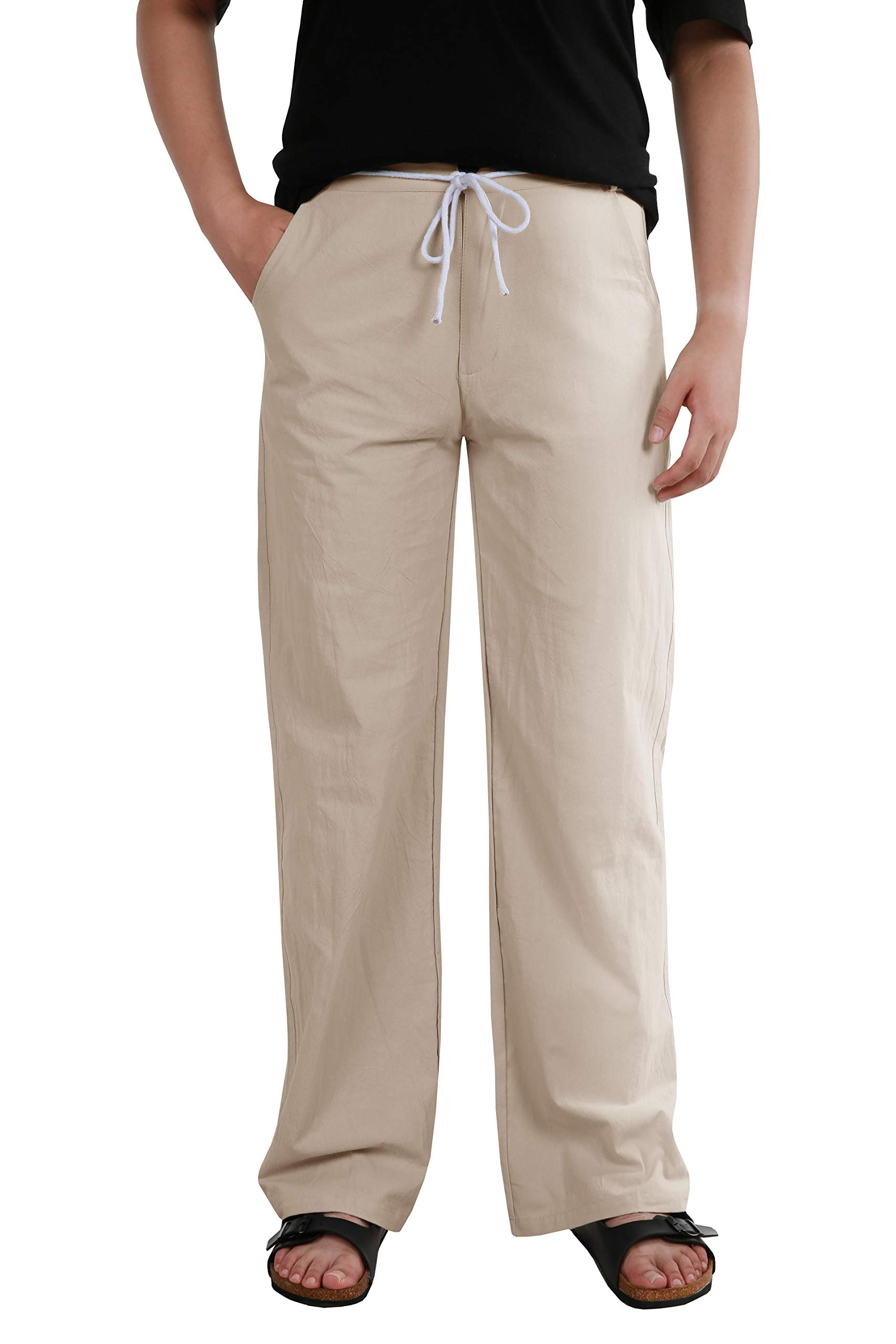 Makkrom Mens Casual Beach Trousers Linen Drawstring Summer Pants