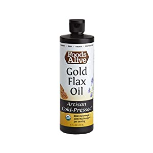 Foods Alive Gold Flax Seed Oil, Artisan Cold Pressed, 100% Pure Flax Oil, Tastes Great, Healthy and Organic 16 oz.