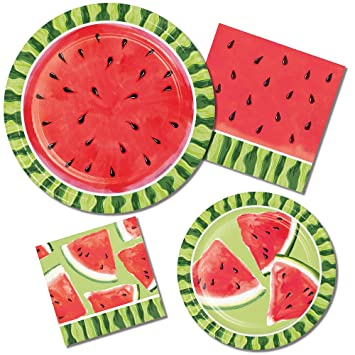 Watermelon Summer Picnic Party Supply Pack! Bundle Includes Paper Plates u0026 Napkins for 8 Guests  sc 1 st  Amazon.com & Amazon.com: Watermelon Summer Picnic Party Supply Pack! Bundle ...
