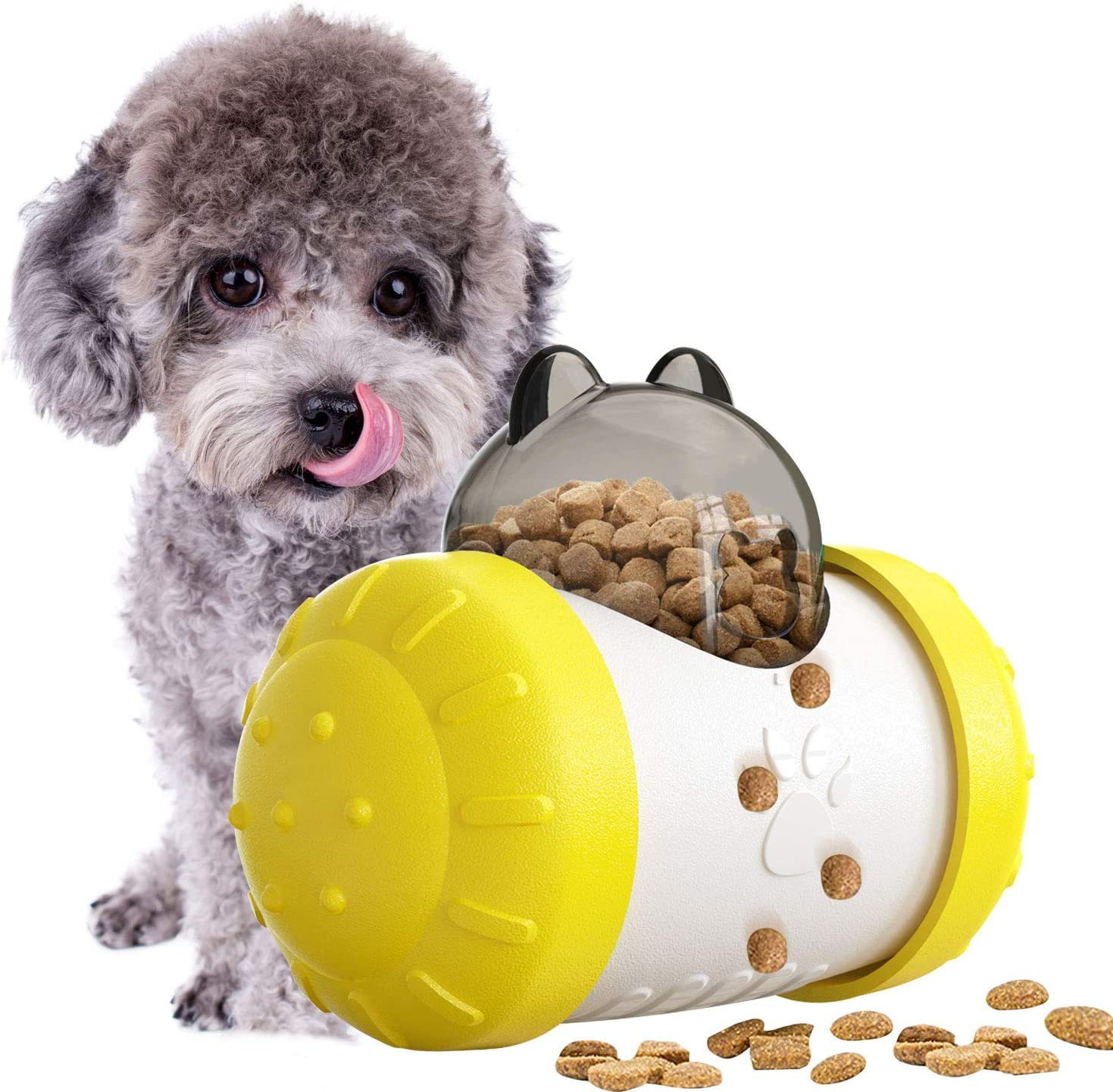 YESURPRISE Interactive IQ Treat Ball Dog Toy, Dogs Food Dispensing Puzzle Toys, Fun Slow Feeder Increases IQ and Mental Stimulation, Tumbler Treat Toys for Puppy, Small Medium Cats, Dogs, Pets(Yellow)
