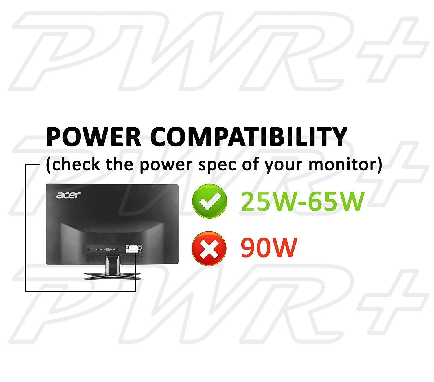 [UL Listed] Pwr+ 19V 65W Extra Long 12 Ft Power-Cord for Acer-Monitor H236HL T232HL R240HY G206HQLBD GN246NL G226HQL G246HL G276HL S200HQL S231HL S241HL S200HL Charger-AC-Adapter Power-Supply by PWR+ (Image #4)