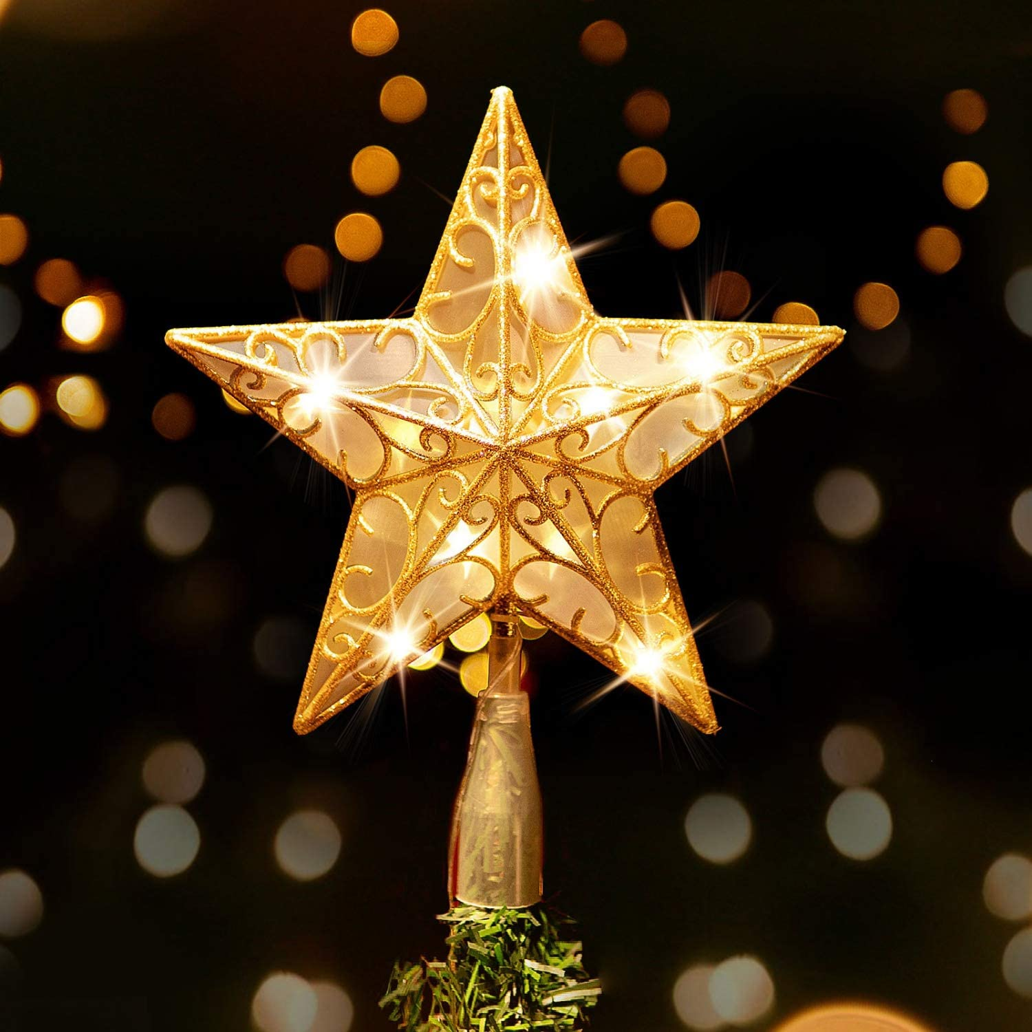Amazon Com Rocinha Gold Christmas Tree Topper Star Lighted Tree Star Glitter Christmas Star Tree Topper With Warm White Led Lights 9 Inch Star For Christmas Tree Kitchen Dining