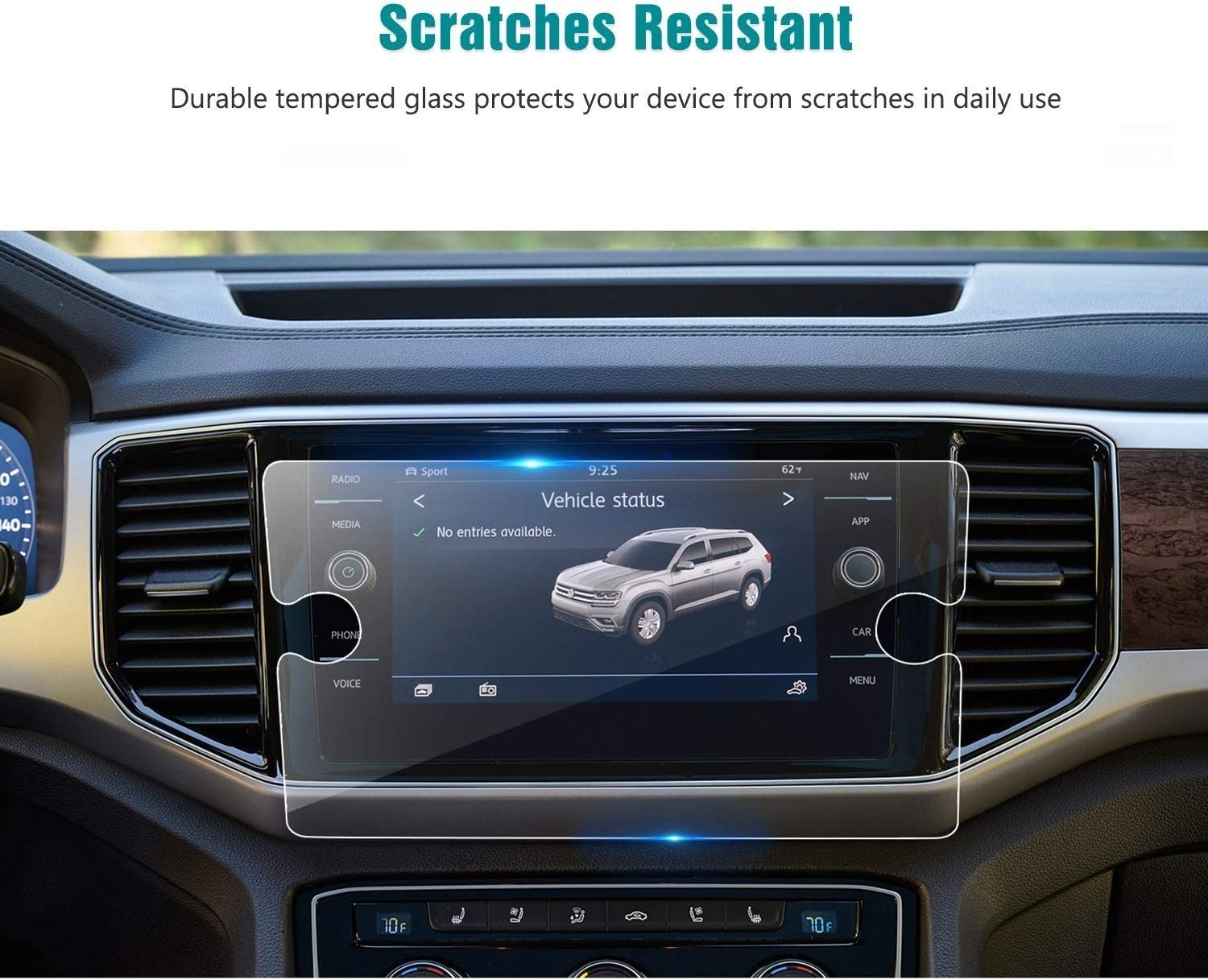 Flyingchan Tempered Glass Screen Protector Compatible with 2020 Volkswagen Atlas,9H Hardness,Anti Scratch,High Definition,VW Touch Screen Car Display Navigation Screen Protector