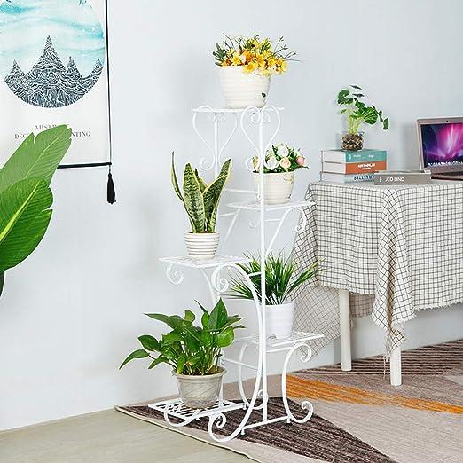 Haunen Soporte Macetas Plantas Metálico, 5 Pisos, Estantería Decorativas de Plantas Flores para Decoración Exterior Interior Jardín, 50 x 25 x 106cm: Amazon.es: Jardín