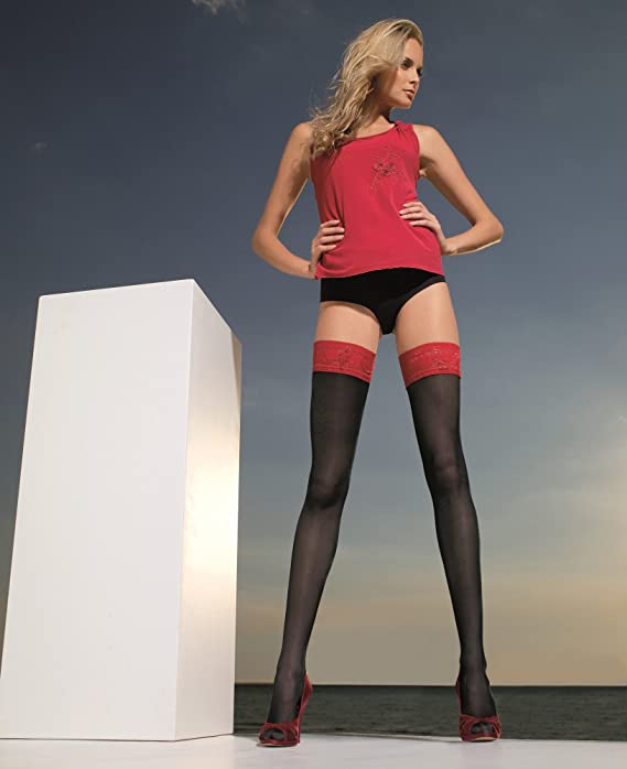 041d99d27 Trasparenze Rosy Red Lace Top Hold Ups