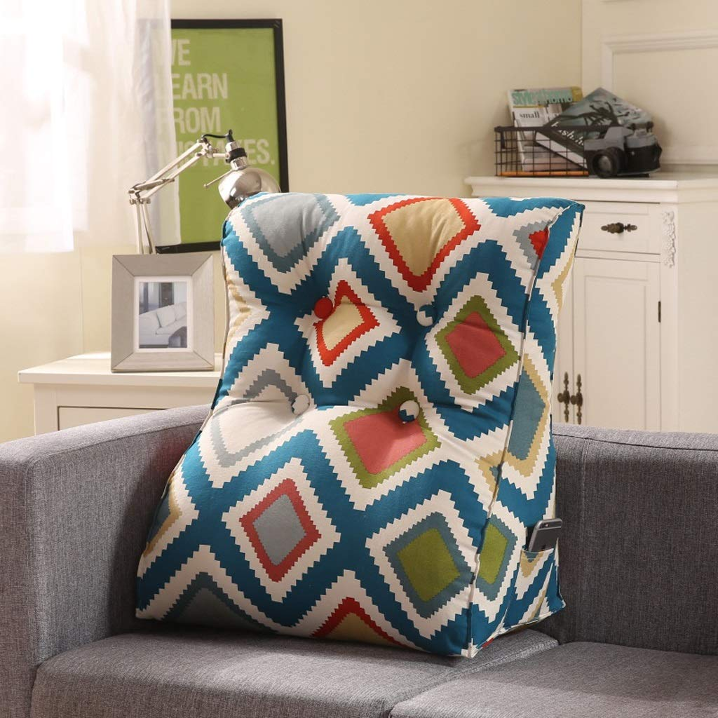 LILISHANGPU Lil Multi-Function Sofa Triangle Cushion, Lathe Head Large Back Bed Cushion/Cotton Canvas Hold Pillow/Removable and Washable (Color : 5, Size : 5560cm)