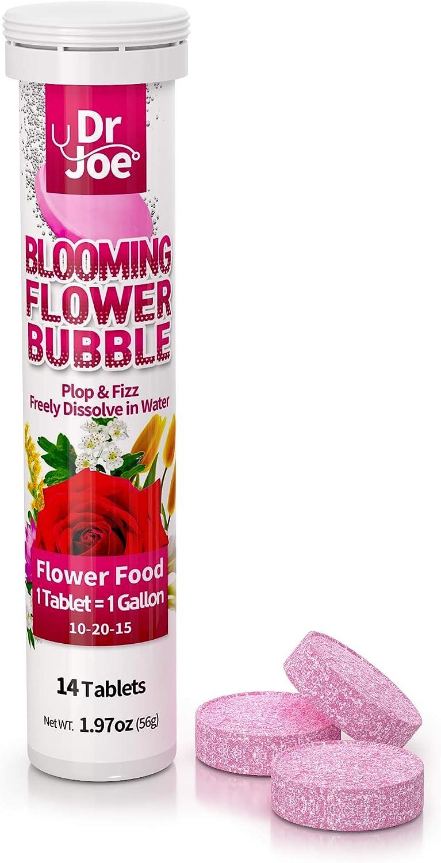 Dr. Joe Blooming Flower Bubble Plant Food, Outdoor Fertilizer, Garden Fertilizer, Potted Plants, 14 Tablets (14 Gallon), 10-20-15