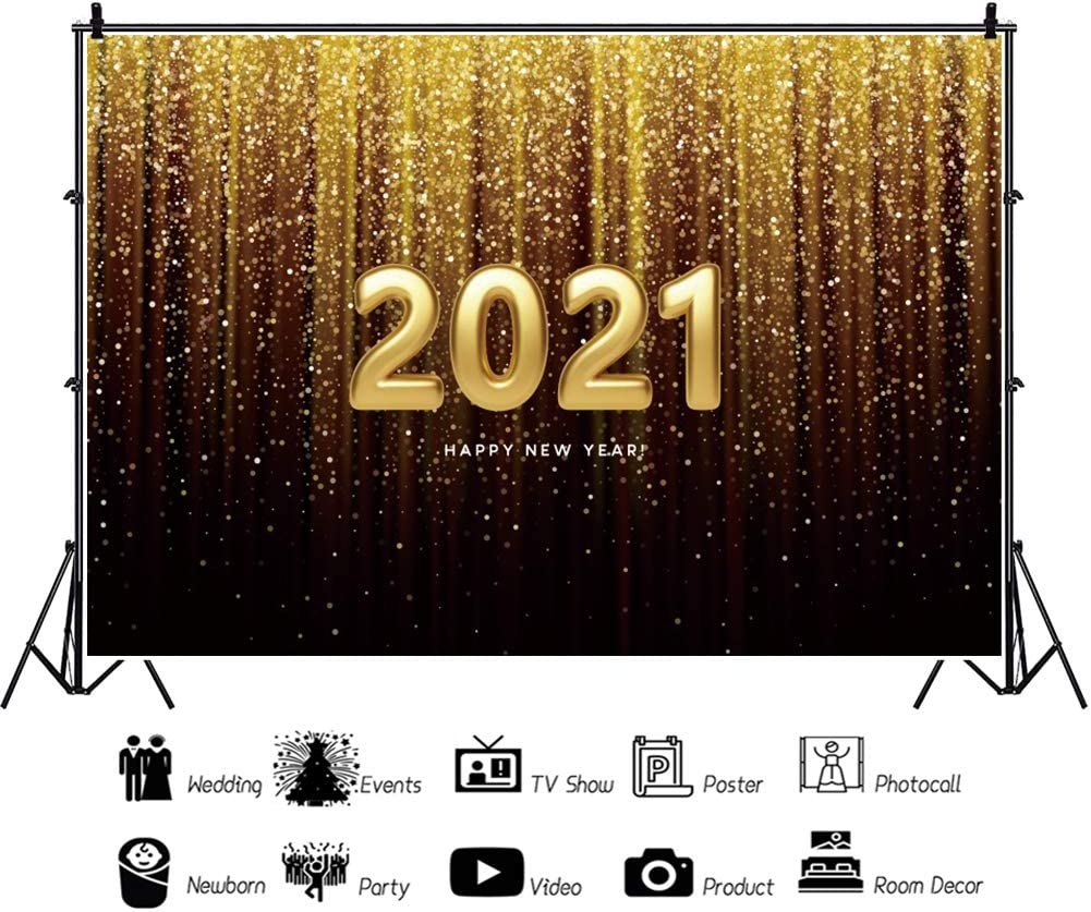 Baocicco 12x8ft Happy New Year 2021 Backdrop Gradient Ramp Champagne Golden Curtain Drapes Tassel Gold 2021 Photography Background Wallpaper for New Year Celebration Beginning of New Year Photo Prop