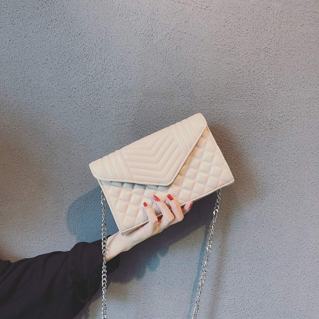 XYQS New Rhombic Package Tide Korean Version of The Wild Ins Super Fire Messenger Bag Envelope Chain Bag Color : White, Size : 20144cm