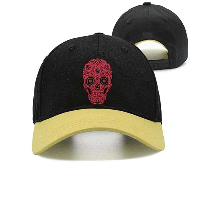 20c2e6f013e3ce YHNBHI Red Skull Floral Art Unisex Punk Hip-hop Adjustable Peaked Cap Best  Baseball Hat