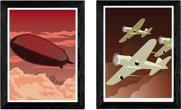 Pack de Dos láminas Aviones Y Zepelin. Tamaño A4: Amazon.es: Hogar