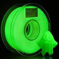 AMOLEN PLA Filament 1.75mm, Glow in the Dark Green, 3D Printer Filament 2.2LBS(1KG) +/- 0.03 mm, includes Sample Wood Filament.