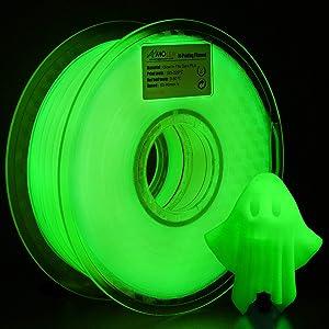 AMOLEN PLA 3D Printer Filament, 1.75mm, Glow in The Dark Green 1 kg Spool