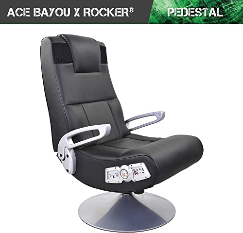 X Rocker SE 2.1 Black Leather Video Gaming Chair for Adult, Teen, and Kid Gamers with Pedestal Base, Armrest, and Headrest – High Tech Audio and Wireless Capacity – Ergonomic Back Support 5127401