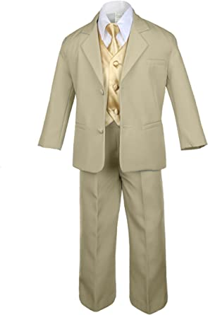 Unotux 7pc Boys Silver Suit with Satin Yellow Vest Set from Baby to Teen