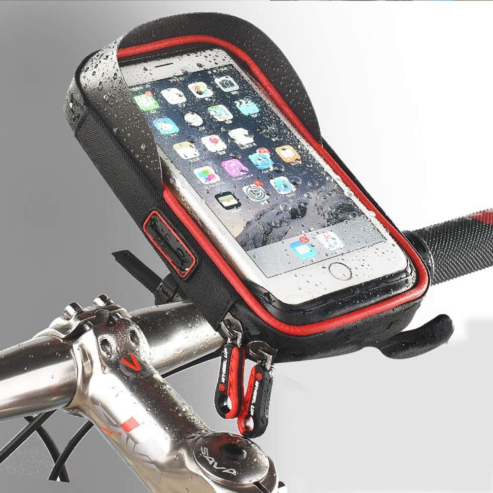 ZYHA Bolsa Bicicleta,Soporte para teléfono Montura de navegación GPS Soporte para parasoles Pantalla táctil Resistente al Agua,6 Pulgadas