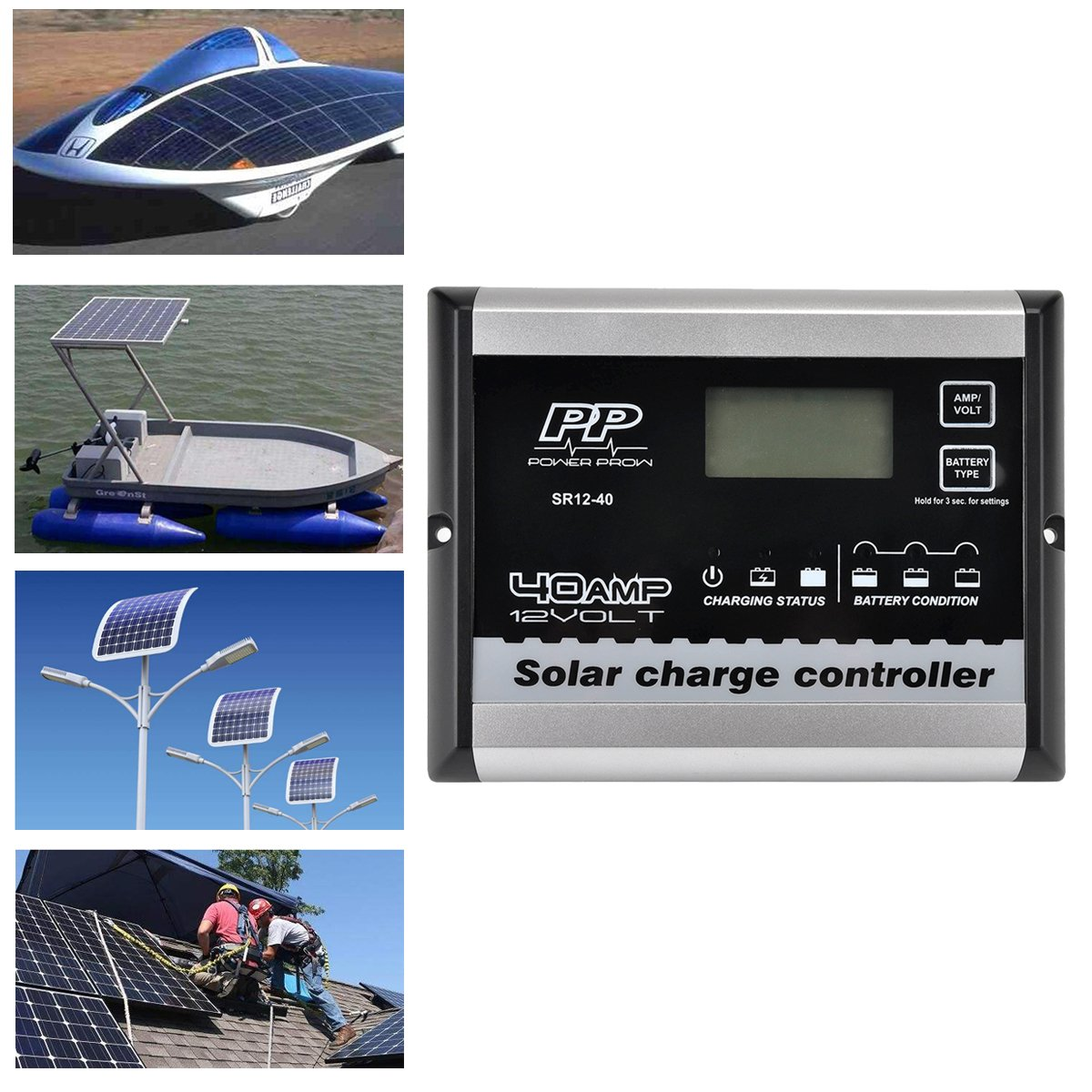 POWERPROW(TM Solar Charge Controller 12V 30A PWM Solar Panel Regulator with LCD Display
