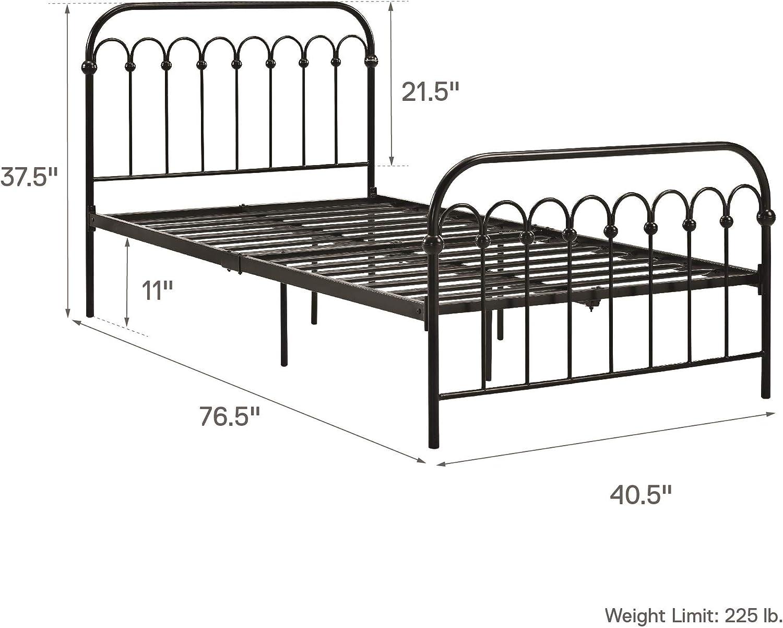 6.5 or 11 Twin Black Adjustable Height for Underbed Storage Novogratz Bright Pop Metal Bed Metal Slats Included