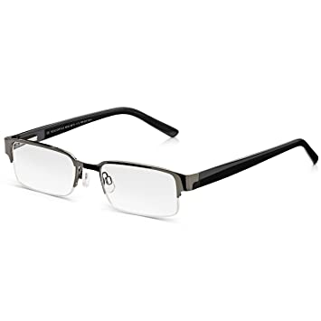 15d8b09a0769 Read Optics Semi-Rimless Glasses: Mens Black Ready Readers with Spring  Hinges. Vintage