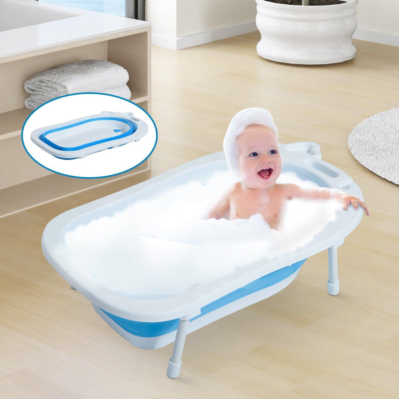 HOMCOM Babybadewanne Babywanne zusammenklappbar mit St/ützbeinen Seifenablage 89cm Blau