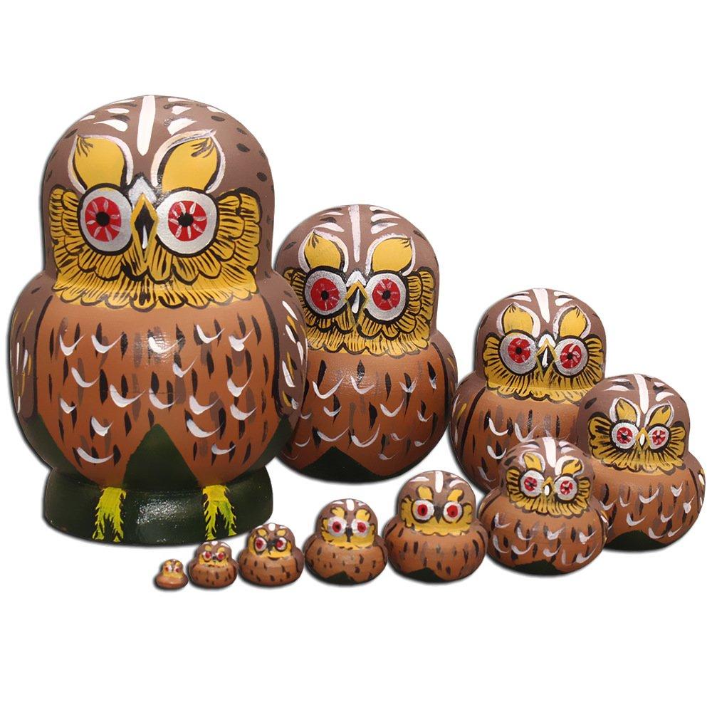 Moonmo Vivid Round Eyes Brown Owl Handmade Wooden Russian Nesting Dolls set 10 pcs Matryoshka Wooden Toys by Moonmo