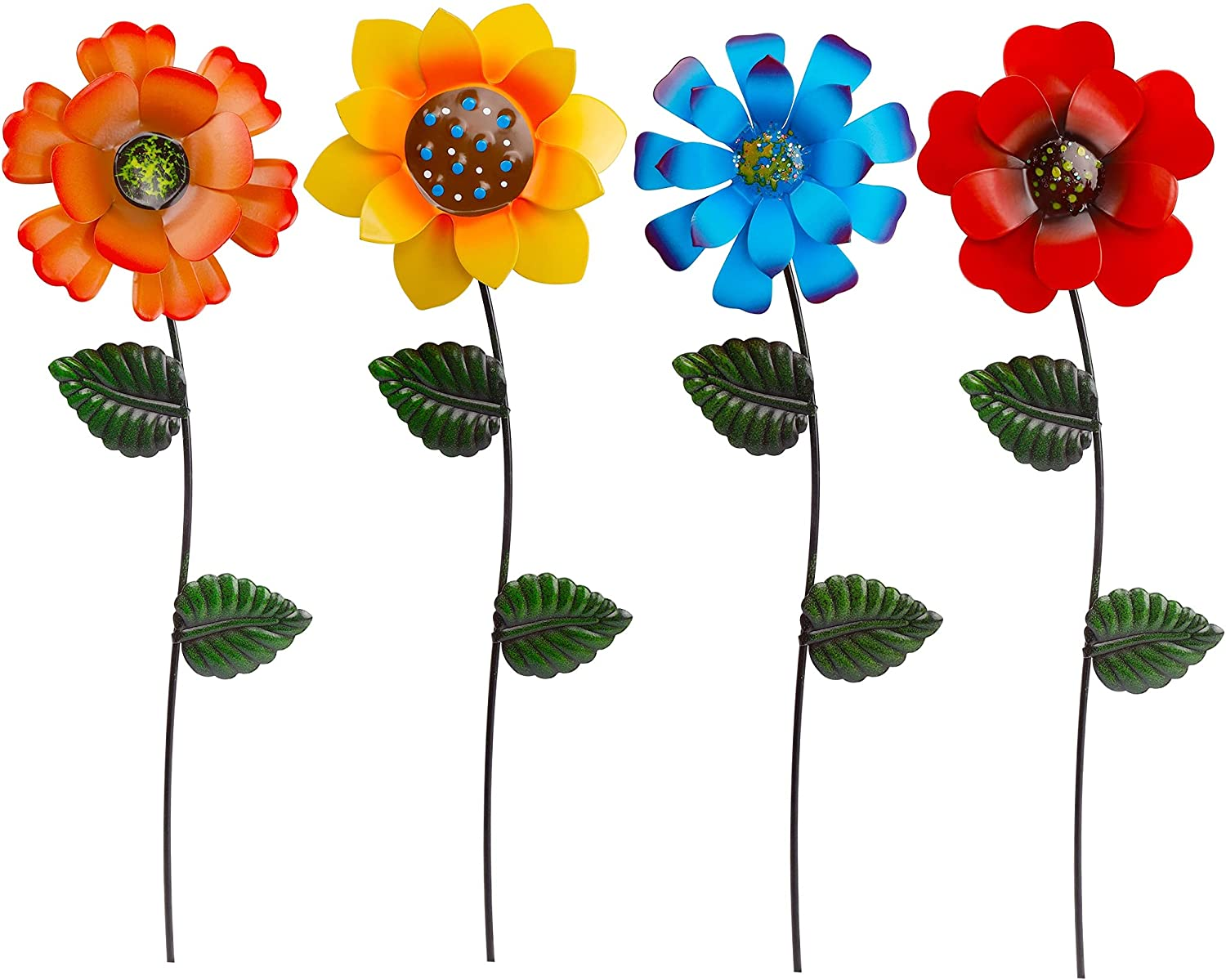 Juegoal 4 Pack Flower Garden Stakes Decor, Outdoor Metal Colorful Sunflowers Daisy Shaking Head Yard Art, Rust Proof Metal Flower Stick, Indoor Outdoor Pathway Patio Lawn Decorations