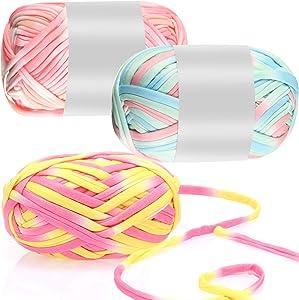 3 Pieces 100 g T-Shirt Yarn Knitting Crochet Yarn Pet Cave T-Shirt Yarn, Fabric Yarn Weaving Loom Yarn Knit Basket Crochet Bag Materials Dream Catcher Yarn Total 90 m/ 295 Feet (Multiple Color)