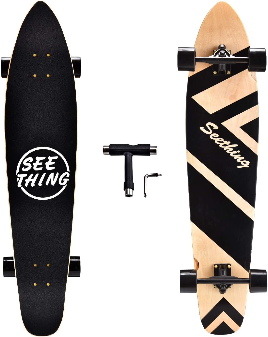 Amazon.com : seething 42 Inch Longboard Skateboard Complete Cruiser, The  Original Artisan Maple Skateboard Cruiser for Cruising, Carving, Free-Style  and Downhill(Black) : Sports & Outdoors