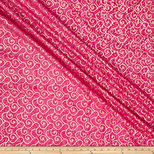 Textile Creations Indian Batik Montego Bay Gold Scroll Fuchsia Metallic Fabric by The Yard