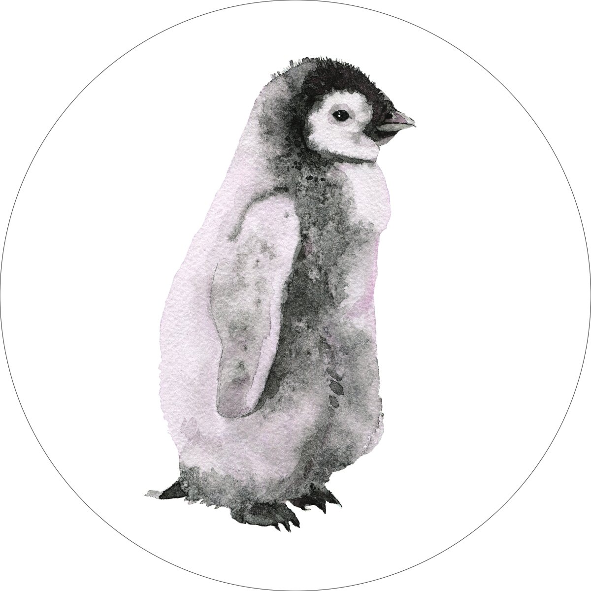 Penguin Home Wall Shelf Decor Animal Decorations Watercolor Round Sign - 18 Inch, Metal