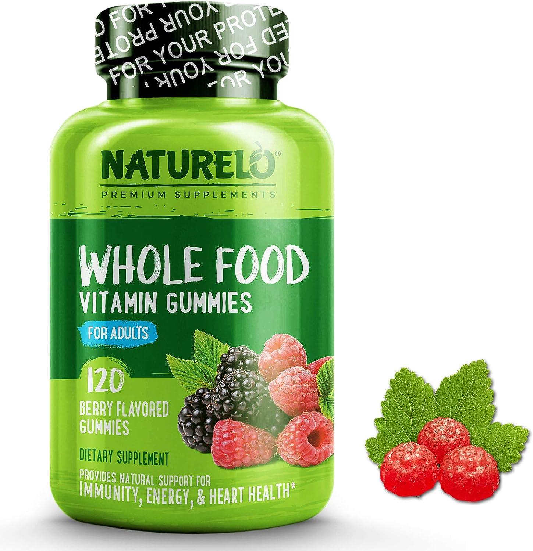NATURELO Whole Food Vitamin Gummies for Adults – Chewable Gummy Multivitamin for Women – Organic Great Tasting Berry Flavor – 120 Vegan Gummies