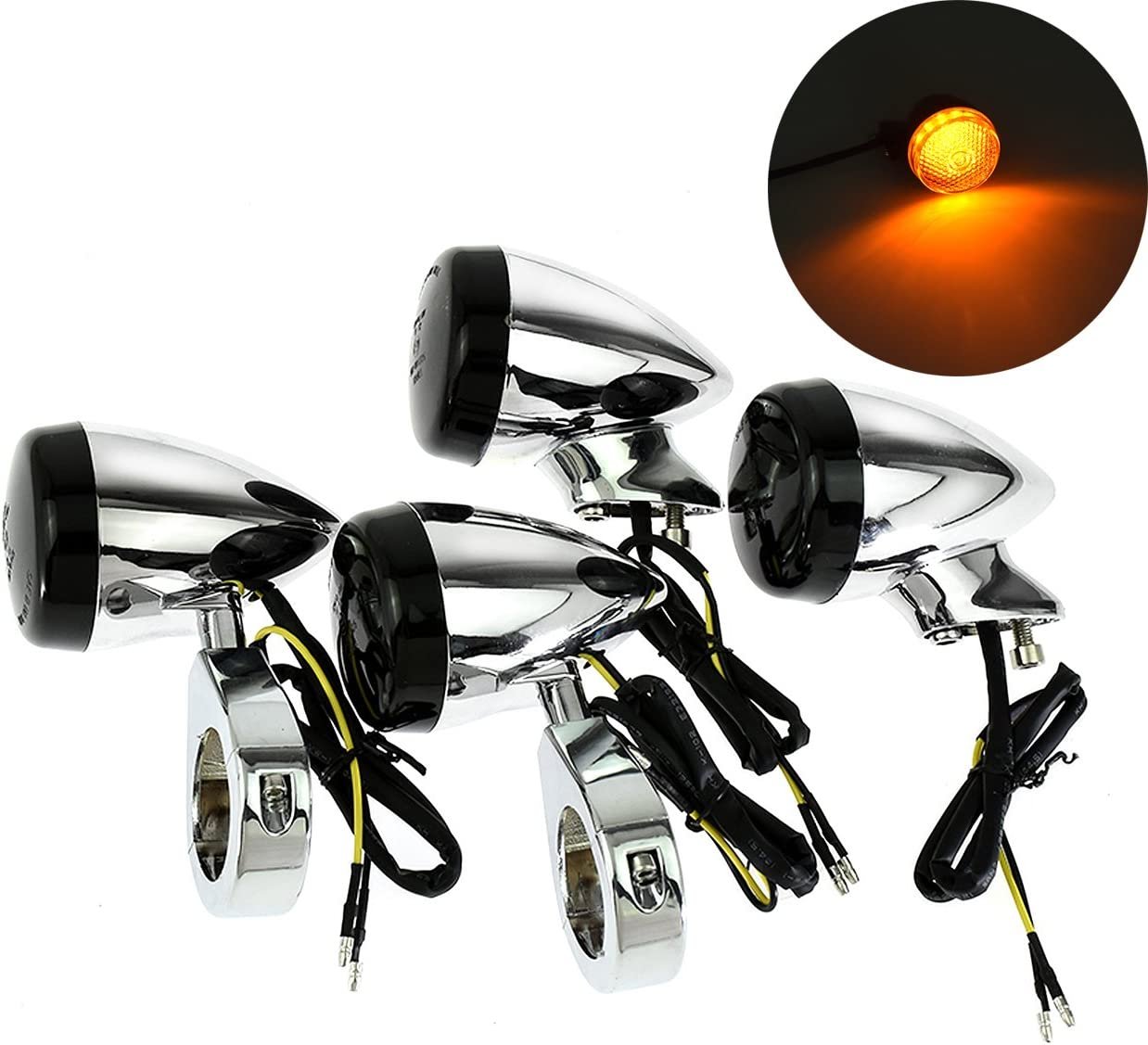 4Pcs Motorcycle Front Rear LED Turn Signal Indicator Light w//41mm Fork Clamp for Harley Sportster Dyna Bobber Black+White