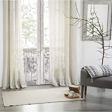 AC-Déco – Cortina (algodón Blanco Adorno de diseño Gris – L 260 x L 140 cm: Amazon.es: Hogar