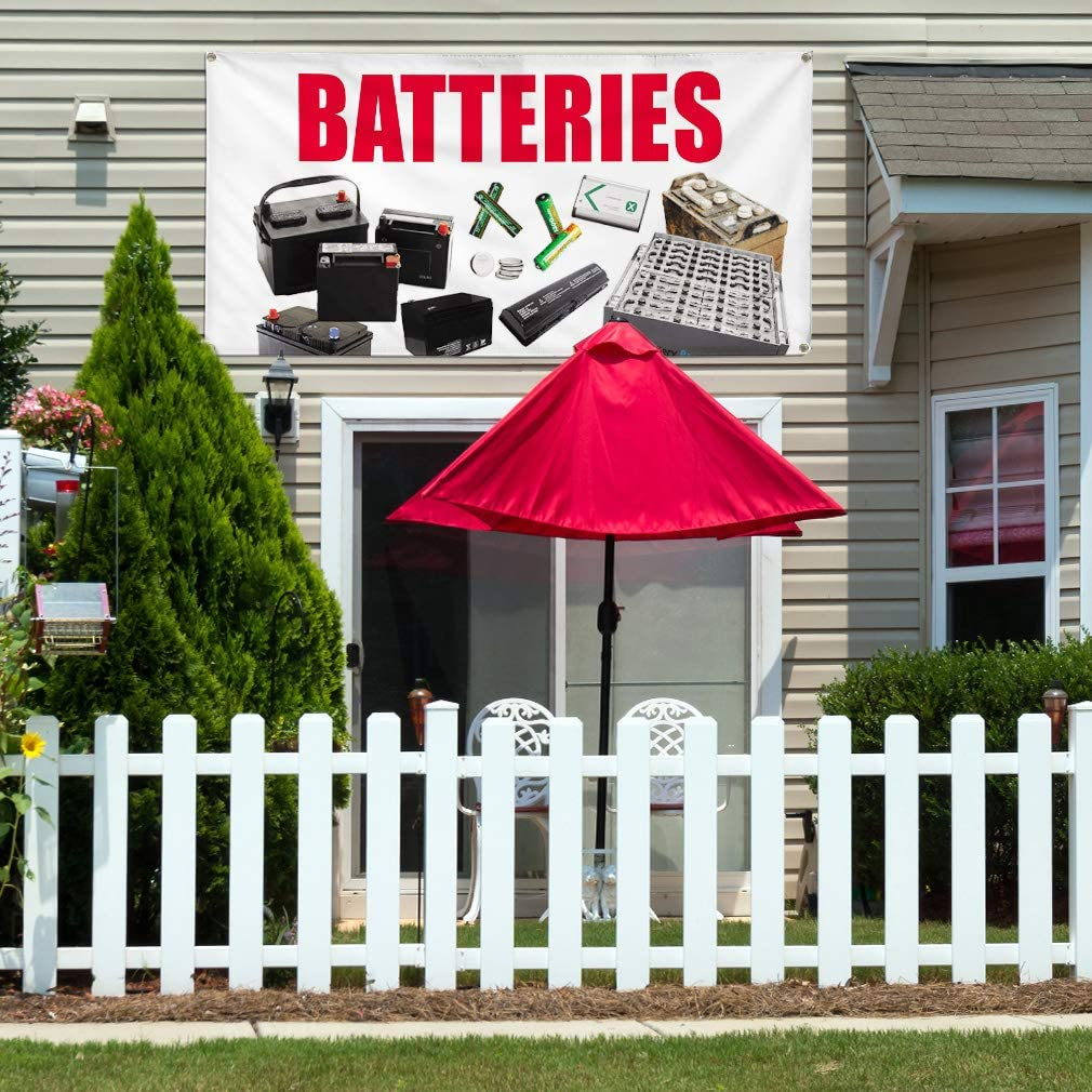 Vinyl Banner Multiple Sizes Batteries A Outdoor Advertising Printing Business Outdoor Weatherproof Industrial Yard Signs 8 Grommets 48x96Inches