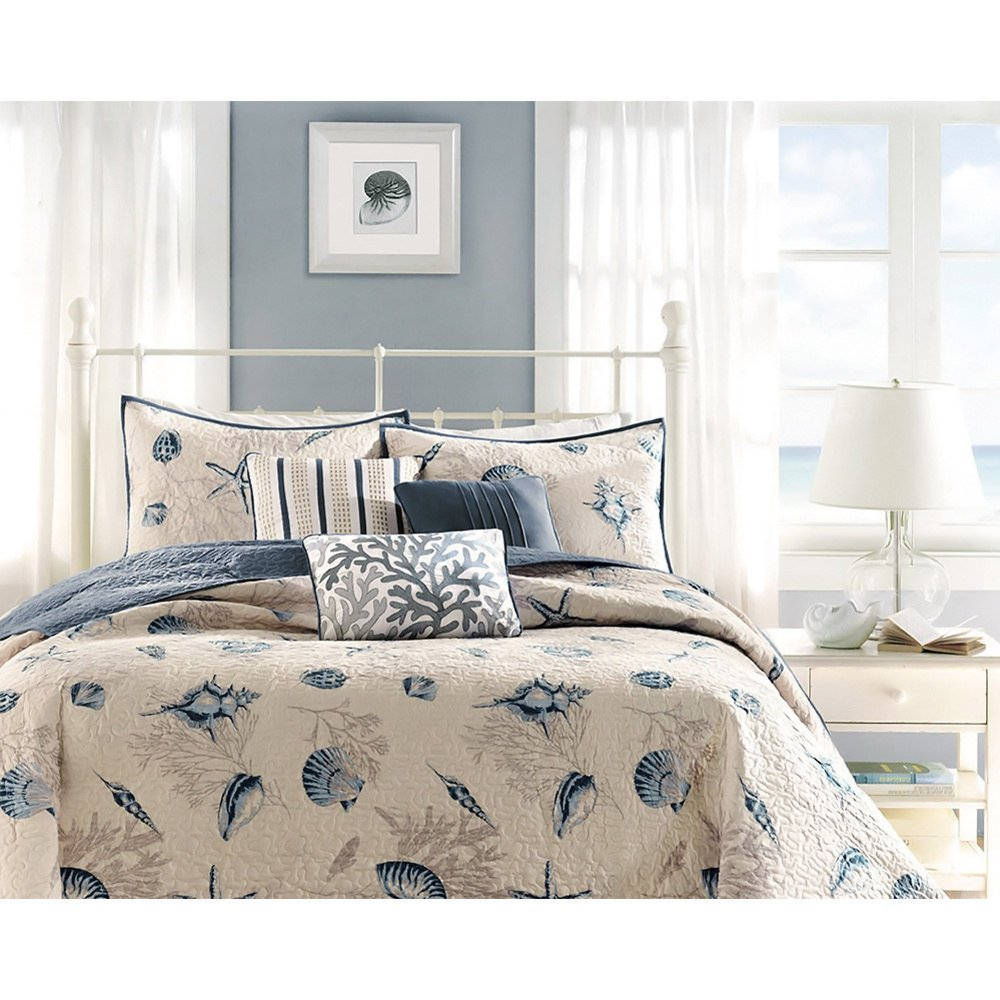 5 Piece Steel Blue Beige Animal Print Coverlet Twin Twin Xl Set, Cream Light Blue Coastal Star Fish Coral Motif Seashells Nautical Style, Reversible Adult Bedding Master Bedroom, Microfiber Polyester
