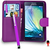 Samsung Galaxy A5 FITS Case - Premium Leather PURPLE Wallet Flip Case Cover Pouch with Mini & Big Touch Stylus Pen RED Dust Stopper Screen Protector & Polishing Cloth SVL3, (WALLET PURPLE)