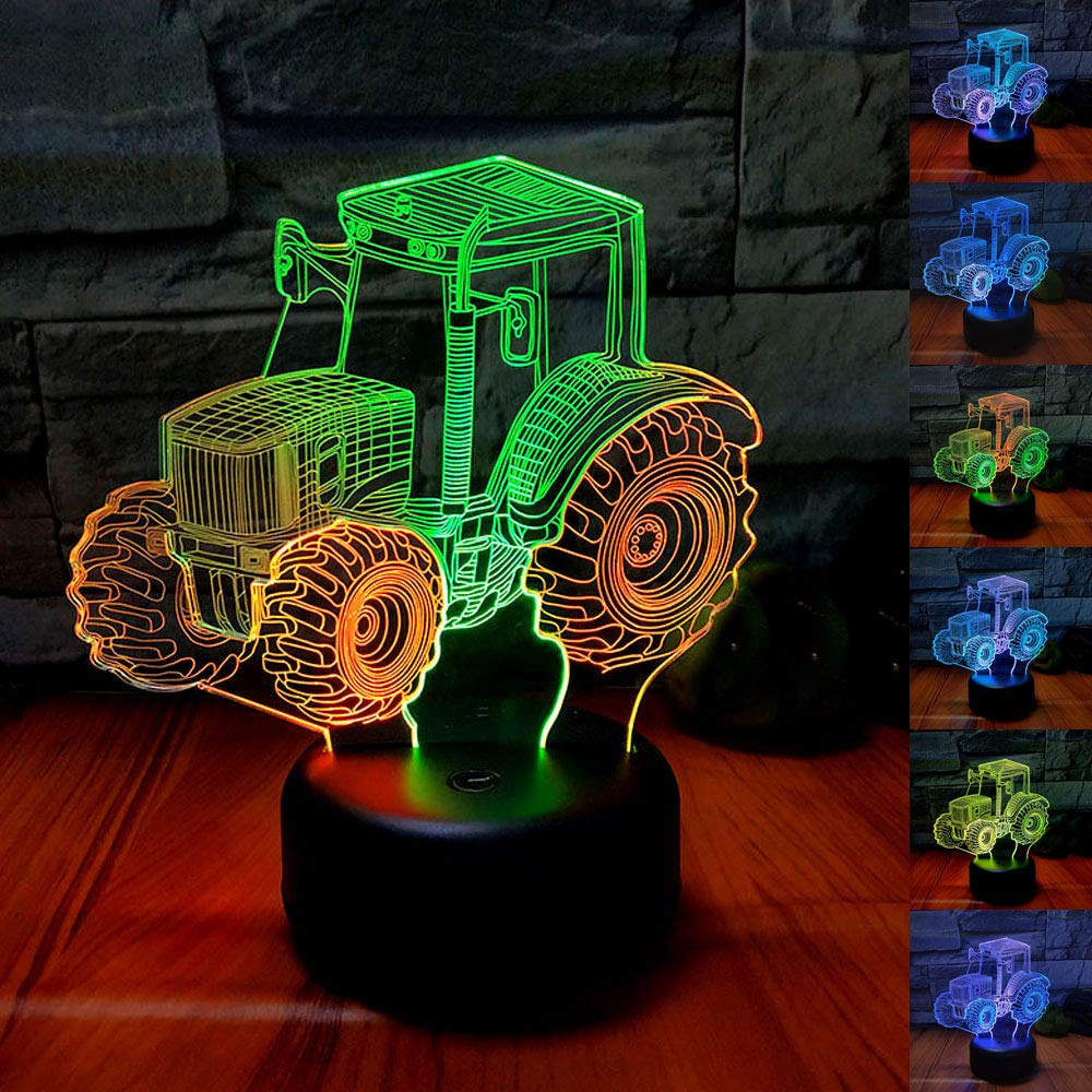 SZLTZK Christmas Gift Mixed Dual Color 3D LED Tractor Night Light 7 Color Touch Switch with Battery Compartment USB Cable Table Desk Baby Nursery Lamp Home Decor Birthday Present for Kids Boy Girl