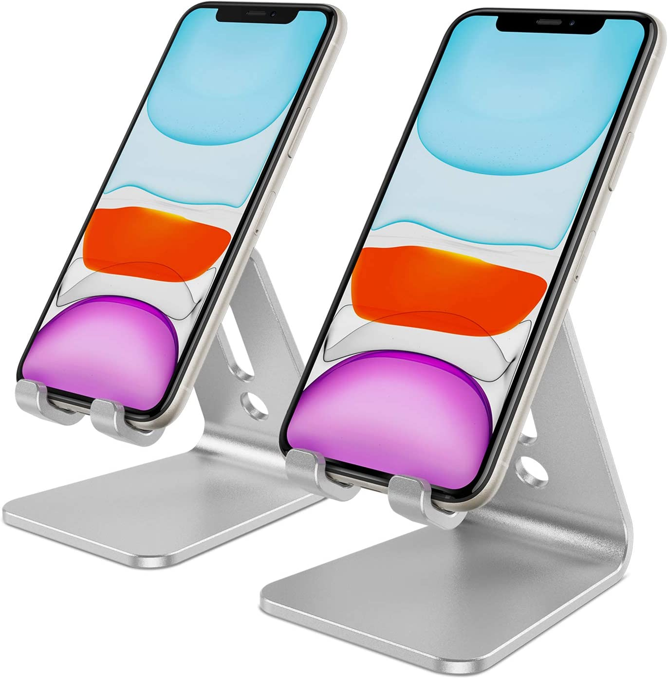 OMOTON [2 Pack] Cell Phone Stand Phone Holder for Desk, Desktop Cell Phone Stand Compatible for All iPhone and Android Smartphone (Silver)