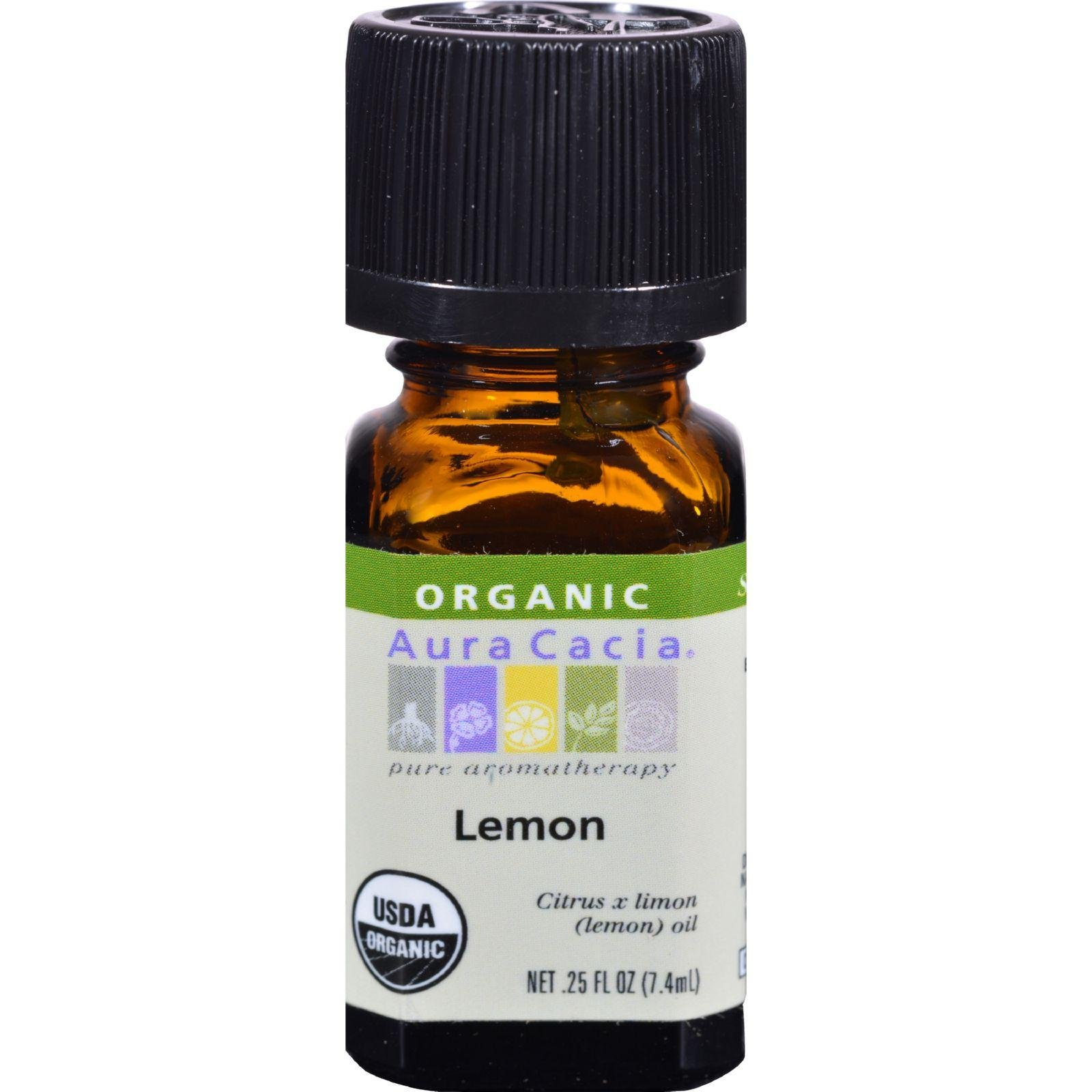 Aura Cacia Organic Lemon .25 fl oz (7.4 ml) Liquid