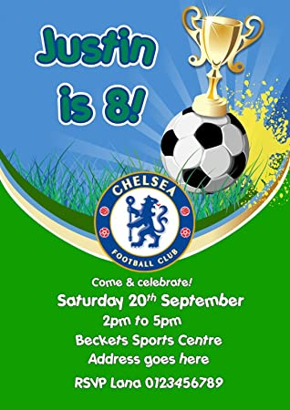 Personalised Birthday Football Party Invitations X10 Amazon Co Uk