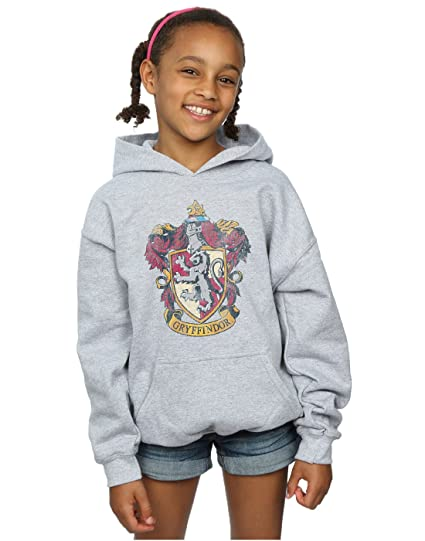 5795a674734 Harry Potter Girls Gryffindor Distressed Crest Hoodie  Amazon.co.uk   Clothing