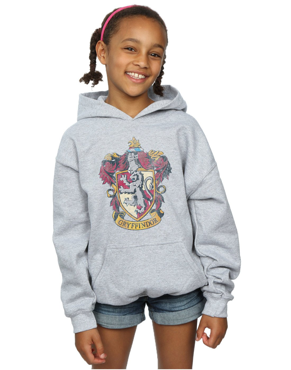 HARRY POTTER Girls Gryffindor Distressed Crest Hoodie 9-11 Years Sport Grey by HARRY POTTER (Image #1)