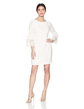 d06317a51d767 Jessica Howard Women's Petite Bell Sleeve Shift with Lace Trim, Ivory/Peony  4P