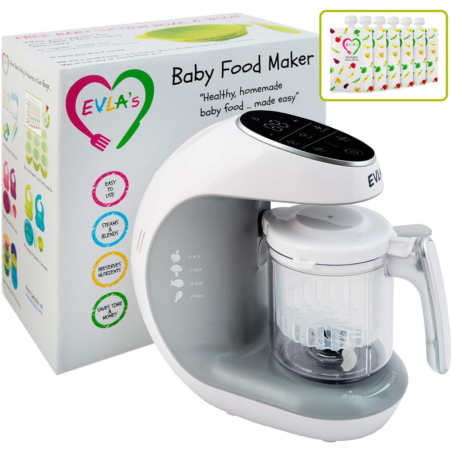 Baby Food Maker | Baby Food Processor Blender Grinder Steamer | Cooks & Blends Healthy Homemade Baby Food in Minutes | Self Cleans | Touch Screen Control | 6 Reusable Food Pouches